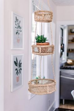 Hanging Fruit Baskets- Home Decor- 3 tier basket- Kitchen Hanging basket- Hanging Planter- Kitchen Wall Decor- Mothers Day gift - Kitchen Interior - Obst Diy Interior, Kitchen Interior, Kitchen Decor, Interior Design, Decorating Kitchen, Kitchen Designs, Home Decor Baskets, Basket Decoration, Diy Home Decor