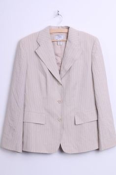 Ann Taylor LOFT Womens 10 M Business Blazer Jacket Striped Creamy - RetrospectClothes