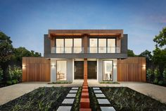 Luxury Custom Home Builders Melbourne 2 Storey House Design, Bungalow House Design, House Front Design, Building Design, Building A House, Home Builders Melbourne, Townhouse Designs, Duplex House Plans, Industrial House