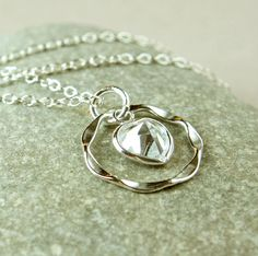 Cubic Zirconia   Necklace    Sterling Silver     Clear   by hildes, $34.00