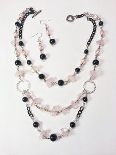 SALE Necklace Earring Gift Set Pink Chips Pearls by CinfulDesigns, $29.00 #sale #jewelry #necklace #set