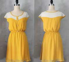 Rich dark yellow dress with polka dot lace illusion neckline // retro // vintage inspired