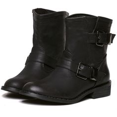 Black Low Heel Buckle Strap Boots (49 CAD) ❤ liked on Polyvore featuring shoes, boots, ankle booties, botas, sapatos, shoes boots, black, low heel black booties, low boots and low heel booties