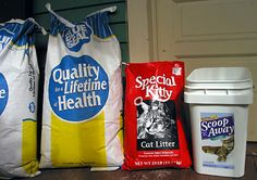 """Best cat litter EVER. BLUE SEAL or Dumor (sold at Tractor Supply stores) brand """"LAYER CRUMBLES""""... Most brands are similar and depending upon where you live, you will find other brands at your local FEED MILL — that's a supplier of foods for horses, cows, poultry, etc. Just ask someone who has a horse where they buy their feed, or look up """"Feed Mills"""" in your phone directory.  Photo of crumbles, clay litter, and clay clumping litter"""