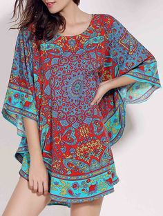 Retro Style Scoop Neck Batwing Sleeve Ethnic Print Loose Dress For Women