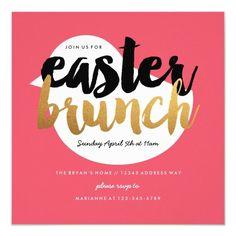 Pink and Faux Gold Modern Chick Easter Brunch Invitation , #affiliate, #Chick#Modern#Brunch#Easter Brunch Invitations, Zazzle Invitations, Gold Easter Eggs, Easter Brunch, Colorful Backgrounds, Paper Design, Card Making, Modern, Pink