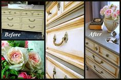 Like the two tone on that dresser.  Do the same for my vanity, but silver instead of grey. onegirlinpink.blogspot.com