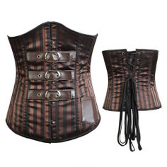 Burlesque vingage steampunk corset costume lace up spiral steel boned S-2XL