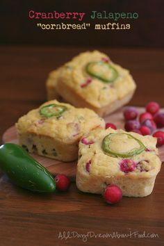 "Grain-free ""Cornbread"" muffins bursting with bright red cranberries and chopped jalapeno. A healthy holiday recipe!"