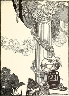 From Shakespeare's Comedy of A Midsummer-Night's Dream, illustrated by William Heath Robinson, 1914. Comments: Looks like Hermia's castle and wear the first scene takes place