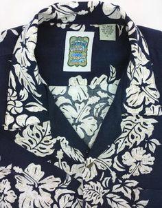 Ocean Current Hawaiian L Blue Dry Cleaned 100% Cotton Mens Short Sleeve Shirt #OceanCurrent #Hawaiian