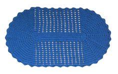Tapete Oval Crochê Azul
