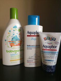 Products, tried-and-true: Eczema help...7 minute lukewarm bath with Babyganics bubbles, wash & shampoo with Aquaphor baby, while skin is still damp, use Aquaphor ointment & put on pajamas.