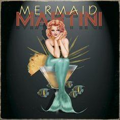 "Ralph Burch ""Mermaid Martini"" Pin Up Girl 9"" Bar Bath Decor Vintaged Metal Sign | eBay"