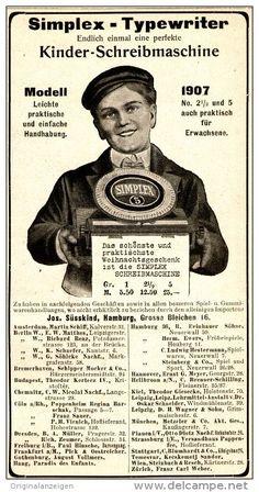 Original-Werbung/ Anzeige 1907 - SIMPLEX KINDER-SCHREIBMASCHINE / SÜSSKIND - HAMBURG - ca. 85 x 175 mm
