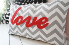 LOVE monogrammed pillow case 16x24 grey chevron with by HAWThome, $39.00