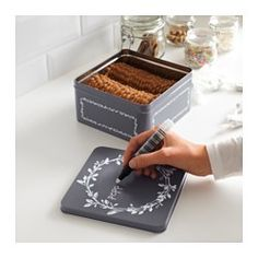 IKEA - VINTER 2016, Tin with lid, You can easily write and draw on the tin with chalk and then easily erase with a damp cloth.Suitable for cakes, biscuits and other dry foods.