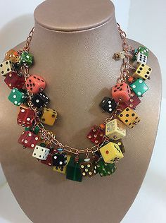 Vintage Bakelite Lucite Dice Necklace W/Copper Tone Chain Earrings AB Rhinestone $110