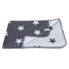 Kinder Strickdecke Sterne anthrazit/grau 100x135cm