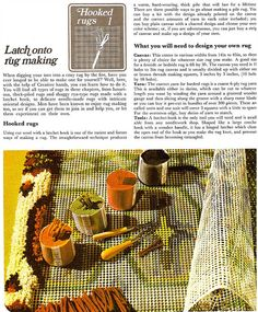 Latch Hook Rug Making, the technique for cutting your own yarn, how to hatch hook a rug and how to make your own design.