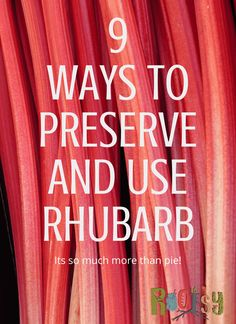 9 ways to use & preserve Rhubarb. Rhubarb, that early rising perennial that you can completely ignore and know it will keep coming back in garden zones 3 to With such a prolific producer, the more ways to preserve and use rhubarb you know the better! Freeze Rhubarb, Rhubarb Desserts, Rhubarb Rhubarb, Rhubarb Ideas, Cooking Rhubarb, Rhubarb Water, Rhubarb Harvest, Rhubarb Preserves, Rhubarb Dishes