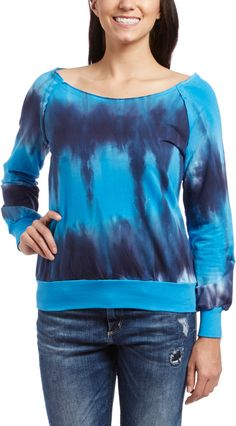 Aqua & Navy Tie-Dye Boatneck Sweater