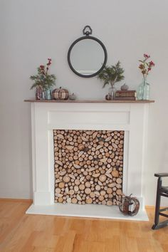 Easy free-standing faux fireplace build. Faux Mantle, Faux Fireplace Mantels, Fireplace Mantle, Mantles, Fireplace Ideas, Fireplace Filler, Standing Fireplace, Home Living Room, Farmhouse Decor