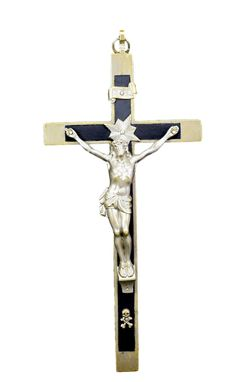 """French Antique Large Bronze and Ebony Inlay Wall Cross - 9"""" High Nun Wall Crucifix - Silver Cross Religious Wall Hanging - Mission Crucifix"""