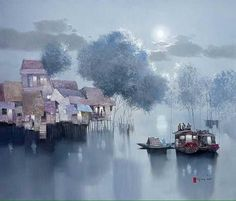 'Moon on River' / Dang Can (b.1957, Vietnam) #art #painting