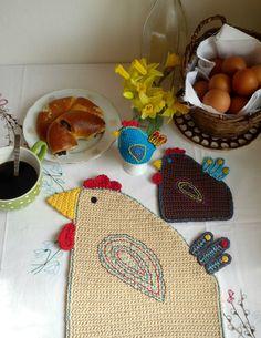 Crochet Hen Placemat Easter Hen Coaster Chicken by MonikaDesign
