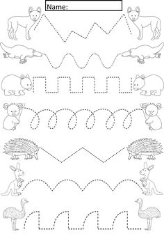 Australian Animals Tracing Lines Activity For Early Years/Special Needs Cute ac. - Australian Animals Tracing Lines Activity For Early Years/Special Needs Cute activity where studen - Preschool Writing, Preschool Learning Activities, Free Preschool, Kindergarten Worksheets, Writing Activities, Preschool Activities, Kids Learning, Preschool Activity Sheets, Preschool Kindergarten
