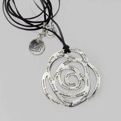 """Rose Jewelry"" – Handmade Solid 925 Sterling Silver Pendant on Leather Cord #GRASHandmadeByIsraeliArtist"