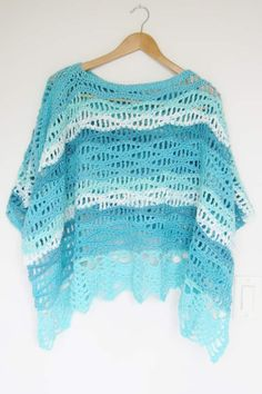 Try this lacy crochet poncho pattern for women this summer. The free pattern includes simple step by step instructions.The poncho is made by seaming 2 rectangles and is easy enough for beginners. It includes woman sizes small to plus sizes. Poncho Au Crochet, Crochet Poncho Patterns, Crochet Shirt, Crochet Scarves, Crochet Clothes, Quick Crochet, All Free Crochet, Knit Crochet, Crochet Vests