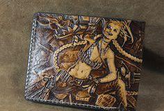Handmade League of Legends LOL JINX carved leather custom short wallet for men gamers