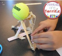 Your students will creatively use the supplies to build a tower to support the tennis ball! Great STEM Challenge! #STEM #Engineering #teacherspayteachers