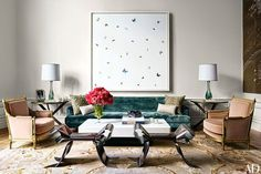 William T. Georgisis an architect and interior designer from New York whose style is very much high-class with some wacky, bold accents such as massive graphic wall art, some very bizarre sculptural