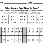 Do your students want a fun addition and subtraction practice page that aligns to your unit on seeds and plants?  This math mystery message require...