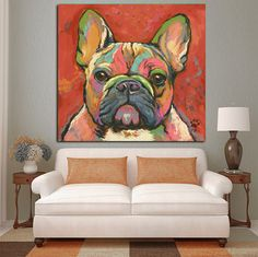 French Bulldog Abstract Oil Painting Print on Canvas
