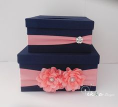 Coral and navy wedding card box - see more info at http://themerrybride.org/2014/11/24/coral-and-navy-wedding-2/