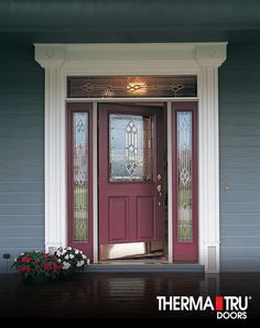 Therma-Tru Classic-Craft Oak Collection fiberglass door painted Sherwin-Williams SW6300Burgundy with & maroon front door with tan house - Google Search | For the Home ... Pezcame.Com