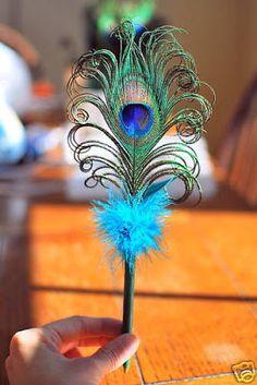 Peacock Feather Pens - Wedding
