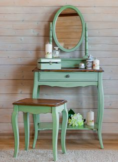 Мебель зеленая в стиле прованс Organization Skills, White Walls, Home And Garden, Vanity, Interior Design, Bedroom, House, Inspiration, Furniture