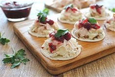 Leftover Thanksgiving Crostini ~ Ingredients: Tortillas, Thanksgiving Leftovers (Rice, Mashed Potatos, Turkey, Cranberry Sauce, or whatever you have) & Flat Parsley to garnish.