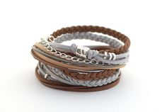 Brown Gray Silver Summer Wrap Bracelet, Caramel Gray Boho bracelet, Gypsy bracelet, gift for her, suede, double wrap, boho chic by cardioceras on Etsy https://www.etsy.com/listing/202656723/brown-gray-silver-summer-wrap-bracelet