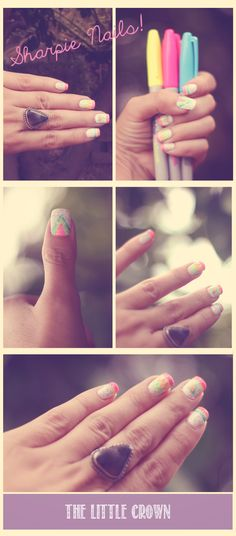 Easy Nail Designs - Summer Nails with Sharpies! Drawn designs with neon colored sharpies :)