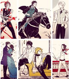 The Infernal Devices. Gabriel, Will (and a horse), Jem, Will and Tessa, Magnus and Woolsey, and Tessa (and probably Jem outside the pic)