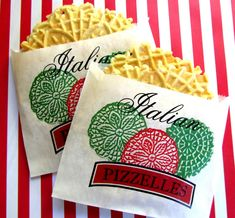 Italian Pizzelle cookie bags ,Cookie bag, Pizza Party, Italian Pizzeria favor bag, set of 12 Pizzelle Cookies, Cookies Et Biscuits, Pizzelle Recipe, Dinner Themes, Party Themes, Party Ideas, Event Ideas, Event Decor, Little Italy Party