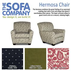 Check out our style of the week: Hermosa! The Hermosa combines the great feeling of an oversized reading chair with a size and shape that doesn't overshadow other pieces. The lower armrests allow its guest to rest arms at a natural, relaxing height. http://www.thesofaco.com/custom-furniture/accent-chairs/hermosa-chair.aspx