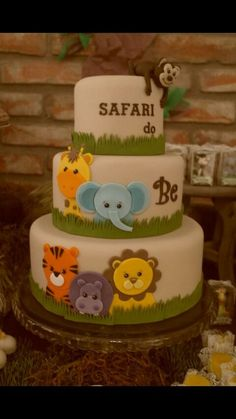 Safari Baby Shower Cake Idea Best Picture For simple Birthday Cake For Your Taste You are looking for something, and it is going to tell you exactly what you are looking for, and you didn't find that Baby Cakes, Baby Shower Cakes, Safari Baby Shower Cake, Gateau Baby Shower, Fiesta Baby Shower, Baby Shower Parties, Baby Boy Shower, Safari Party, Safari Birthday Cakes