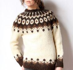 70s Neutral Icelandic Sweater, cream & brown wool Lopapeysa pattern, winter white, chocolate, tan, boho hippie handknit traditional folk kni